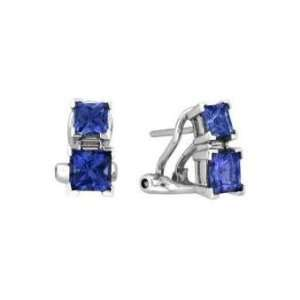 14k White Gold Tanzanite and Diamond Frenchclip Earrings 3.37 CT TW