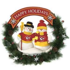 BSS   Kansas City Chiefs NFL Team Snowman Wreath 20 inches