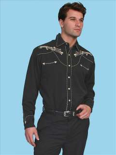 Scully P 627 Mens Western Musical Note Embroidery Shirt