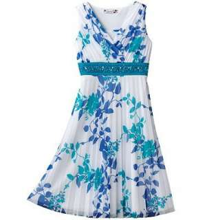 NWT Girls Speechless Floral Aqua & White Pleated Dress Size 12