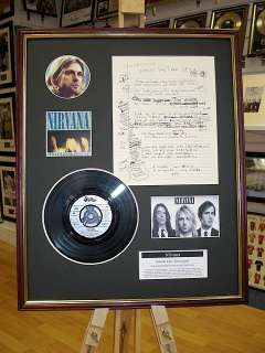KURT COBAIN NIRVANA HAND WRITTEN FRAMED LYRICS MONTAGE