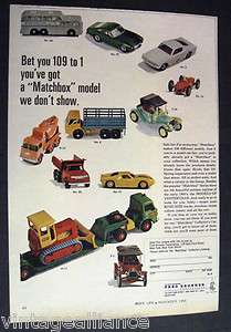 image of Matchbox Model Cars by Fred Bronner Corp 1966 Print Ad