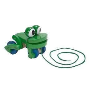 Frolicking Frog Wooden Pull Toy Toys & Games