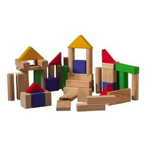 Plan Toys Set of 50 Wooden Building Blocks Baby