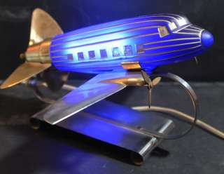 Vintage Art Deco Glass Globe DC 3 Airplane Lamp