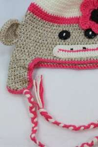 NEW PINK BABY SOCK MONKEY KNIT CROCHET HAT HANDMADE