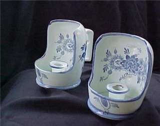1960s Blue & White Delft Candle Holders   Hand Painted
