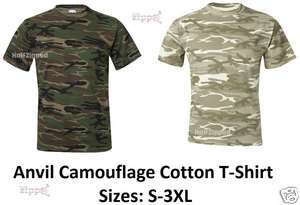 Mens Camouflage Cotton T Shirt 939 S 3XL Green or Sand Camo