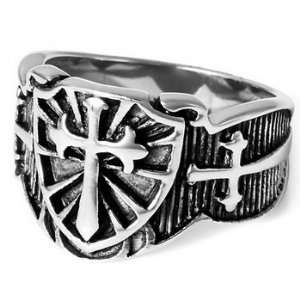 MENS Shield Cross Sword Stainless Steel Ring Size 12 Justeel Jewelry