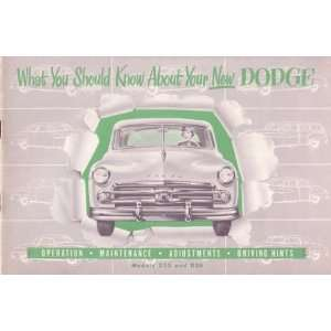 1950 DODGE Car Full Line Owners Manual User Guide Automotive