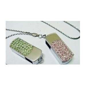 New 8GB Pink Crystal Style USB Flash Drive with Necklace