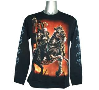 D25 SKULL KNIGHT DEATH PUNK ROCK TATTOO L/S T SHIRT M