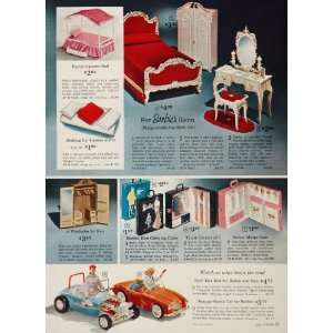 1963 Ad Barbie Ken Doll Bed Furniture Car Carrying Case