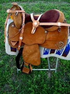 16 WESTERN LEATHER TRAINING TRAIL PLEASURE SADDLE TACK