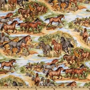 44 Wide Cattle Call Horses On The Ranch Brown Fabric By