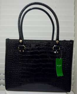 KNIGHTSBRIDGE QUINN BLACK LEATHER TOTE HANDBAG PURSE MSRP $395