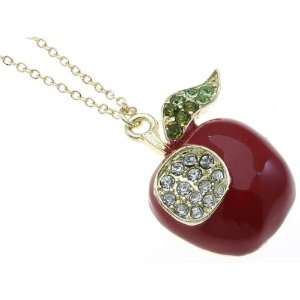 Gorgeous Crystal Bite Size Apple Necklace Jewelry