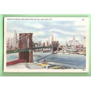PostcardBrooklyn Bridge New York City Skyline Everything