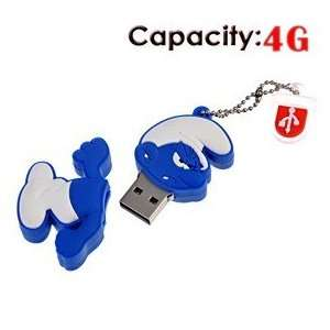 Rubber USB Flash Drive with Shape of Angry Smurfs (Blue) Electronics