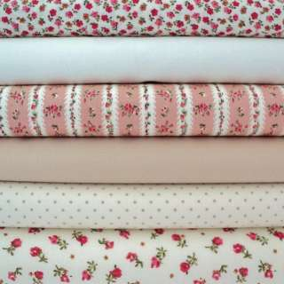 FQ   shabby COTTAGE CHIC   SPRIG   PINK COTTON FABRIC