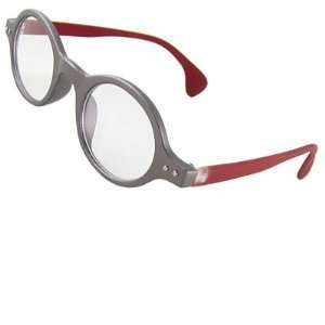 Rubberized Arms Gray Full Rim Clear Lens Glasses