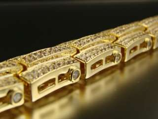 MENS YELLOW GOLD FINISH SIMULATED DIAMOND BRACELET
