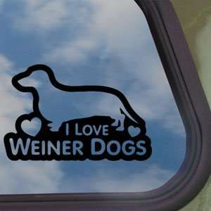 I Love Weiner Dogs Black Decal Car Truck Window Sticker