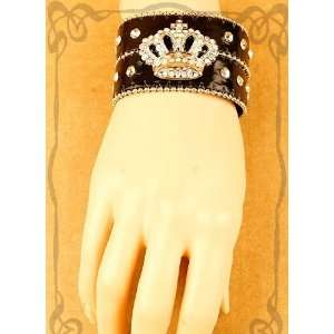 Bling Crown Black Leather Wristband Snap Bracelet