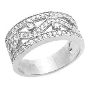 Engagement Ring 0.2ctw CZ Cubic Zirconia Filigree Band White Gold Ring