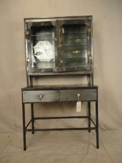 Machine Age Style Metal Display Cabinet With Glass Shelves (01865)n