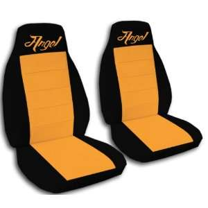 com 2 black and orange Angel car seat covers for a 2003 Mini Cooper