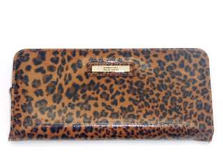 NEW KENNETH COLE REACTION SNAP HAPPY CLUTCH WALLET BROWN LEOPARD NWT