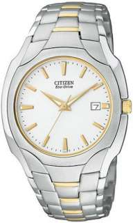 Citizen Eco Drive White Dial Two Tone Mens Dress Watch BM6014 54A