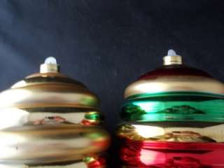 Set of 2 Large Plastic Gold Red Green Ringed Christmas Tree Ornaments