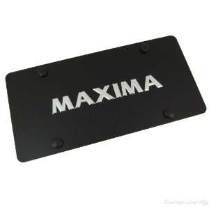Nissan Maxima Chrome Name Badge On Black License Plate