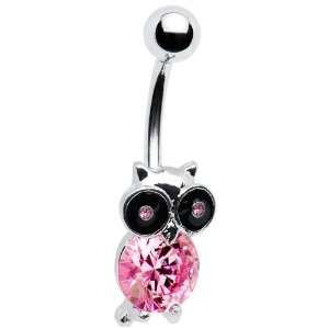 Pink Gem Owl Belly Ring Jewelry