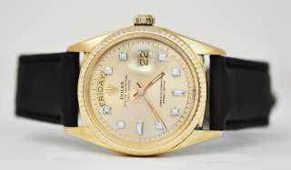 Vintage 1968 Mens Rolex President 1803 Day Date 18k Solid Gold Diamond