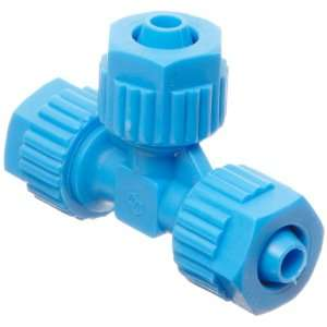 Compression Tube Fitting, Tee, Blue, 6 mm Tube OD (Pack of 5