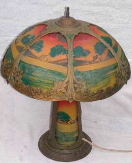 Art Nouveau Reverse Painted Scenic Rib Panel Glass Lamp & Base 18x24