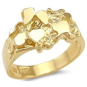 11.5   14k Solid Yellow Gold Ladies Mens Nugget Ring New Band Jewelry