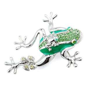 Duo Baby Bowtie Leg Leaping Ribbon Green Crystal Rhinestone Brooch Pin