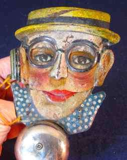 Vintage P.W. Germany HAROLD LLOYD Tin Litho BELL TOY