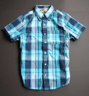 NWT Hollister HCO Mens Plaid Shirt M Medium Button Down Turquoise NEW