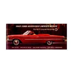 1963 FORD GALAXIE Owners Manual User Guide Automotive