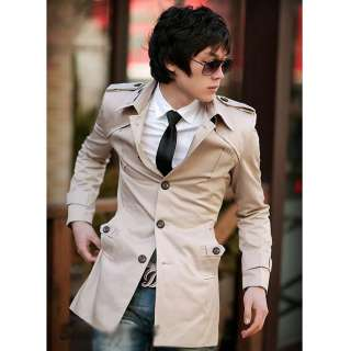 Korean Fashion Mens Slim Fit Stylish Trench Coat Wind Jacket 2 Colors
