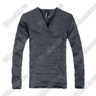 Mens Casual V Collar Button Best Dress Long Sleeve Slim T Shirt