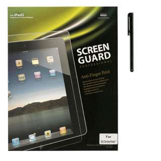 BLACK LEATHER CASE COVER FOR APPLE IPAD 2 + SCREEN PROTECTOR +STYLUS