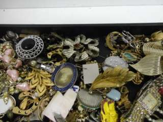 Junk Drawer Vintage Estate lot Costume Jewelry some signed Brooch