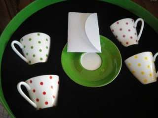 KATE SPADE LARABEE DOT DEMITASSE CUPS AND SAUCERS NEW