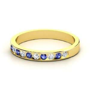 Slim Band, 14K Yellow Gold Ring with Diamond & Sapphire